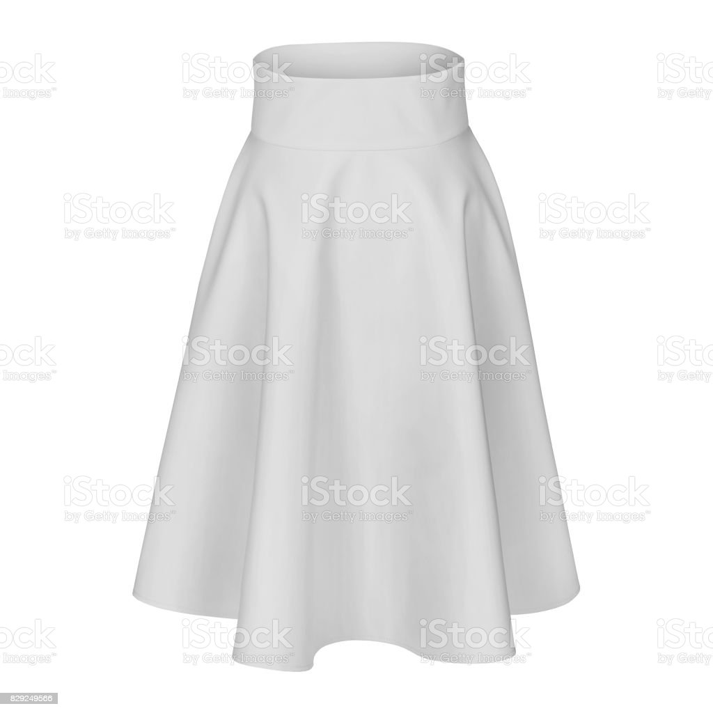 Classic elegant midi white silk satin skirt isolated on white stock photo