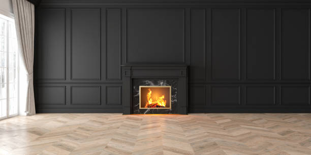 classique noir vide intérieur avec cheminée, fenêtre, rideau, panneaux muraux, rendu 3d, illustration, maquette, image large. - style victorien photos et images de collection