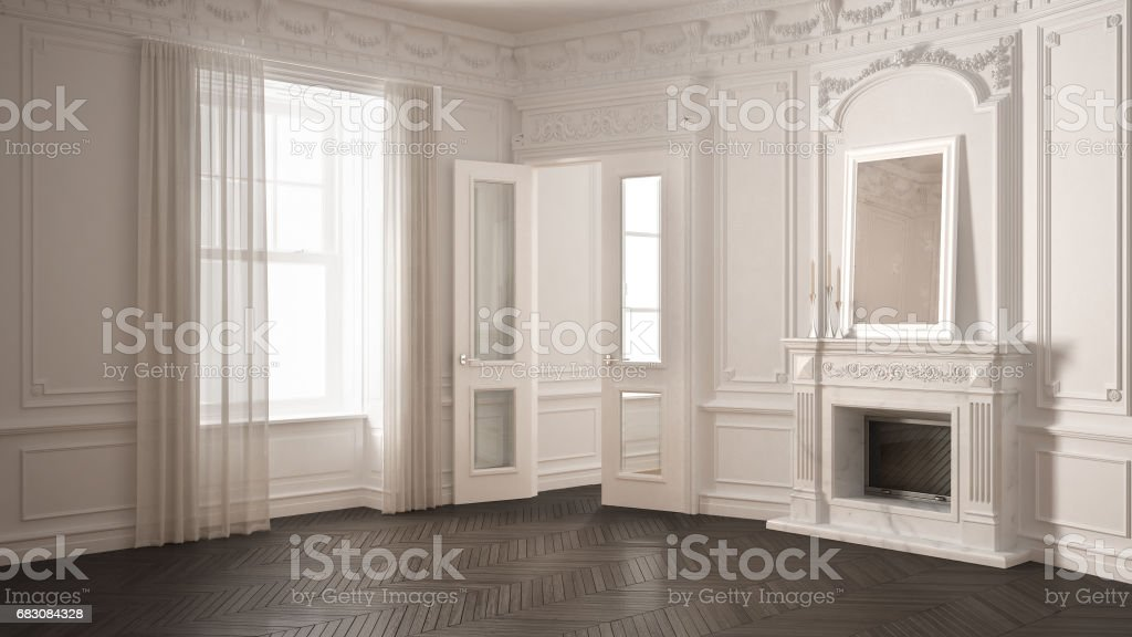 Classic empty room with big window, fireplace and herringbone wooden parquet floor, vintage white and gray interior design stock photo