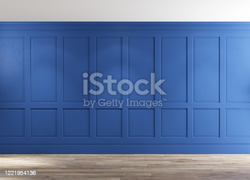 847138534 istock photo Classic empty room with blue walls. 1221954136