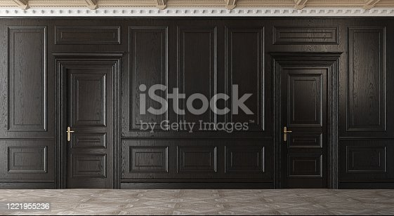847138534 istock photo Classic empty room with parquet and black walls. 1221955236