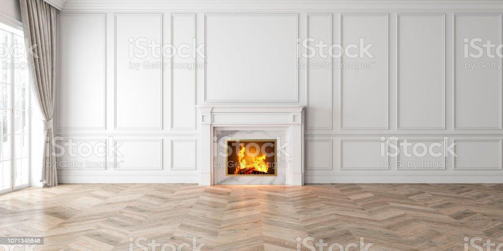 Interior blanco vacío clásico con chimenea, ventana, cortina, paneles de pared, 3D render, Ilustración, maqueta, una imagen amplia. foto de stock libre de derechos