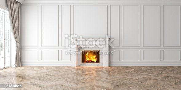 Classic empty white interior with fireplace, curtain, window, wall panels, 3D render, illustration, mockup, wide picture.