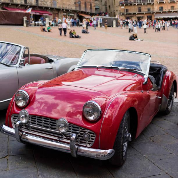 Classic European Cars, Triumph TR3, Siena, Italy stock photo