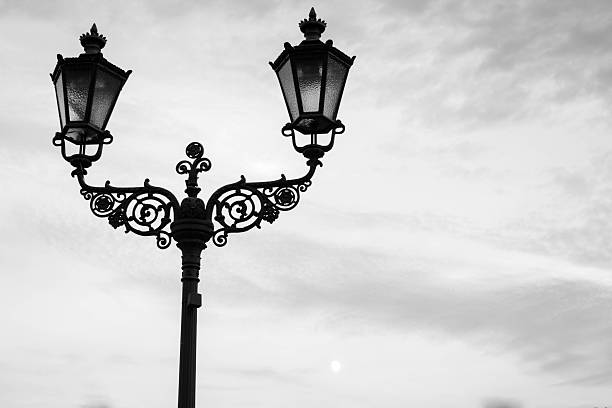 Classic european streetlights stock photo