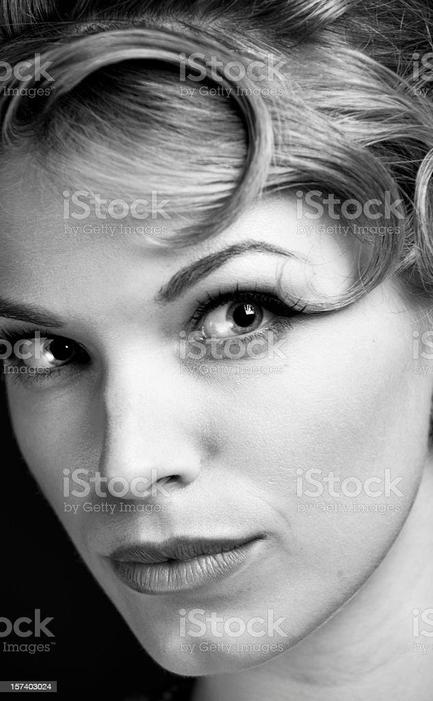 Classic Female Portrait B&W stock photo