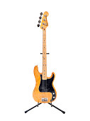 Los Angeles, California, USA - August 29th, 2009:  Illustrative editorial photo of a vintage Fender Precision electric bass guitar with an ash body and a maple neck.