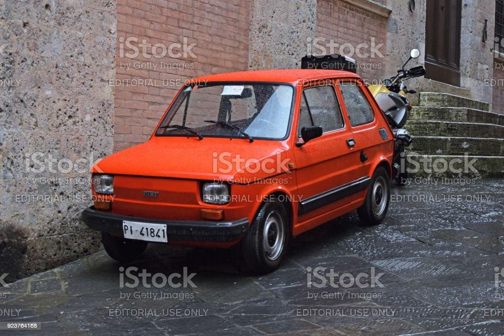 Classic Fiat 126 on the street stock photo