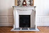 Fireplace in Parisian apartment/home.