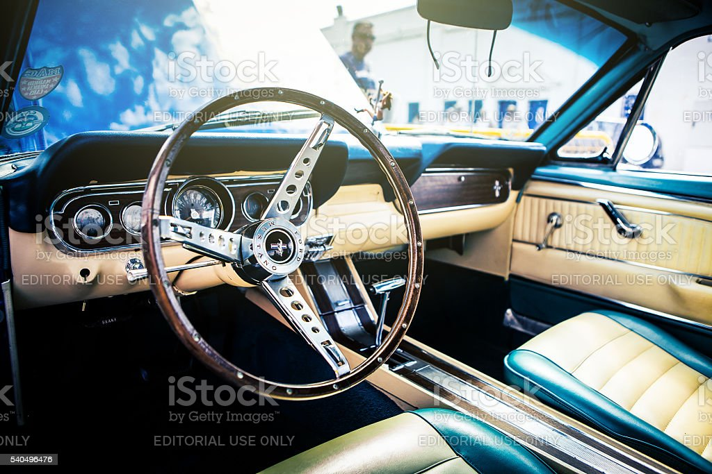 Classic Ford Mustang interior. stock photo