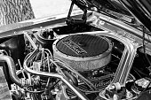 Subotica,Serbia -July 05,2015: Ford Mustang 289 edelbrock on Annual oldtimer car show Subotica 2015. Various vintage cars and motorcycles.In organization of Oldtimer Club Subotica. Selective focus.