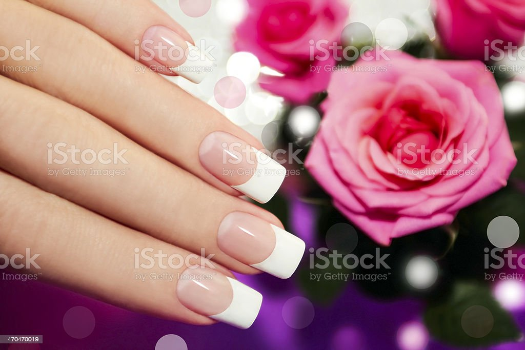 Classic French manicure. stock photo