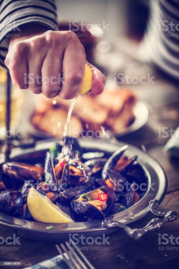 Classic French Mussels Dish stock photo