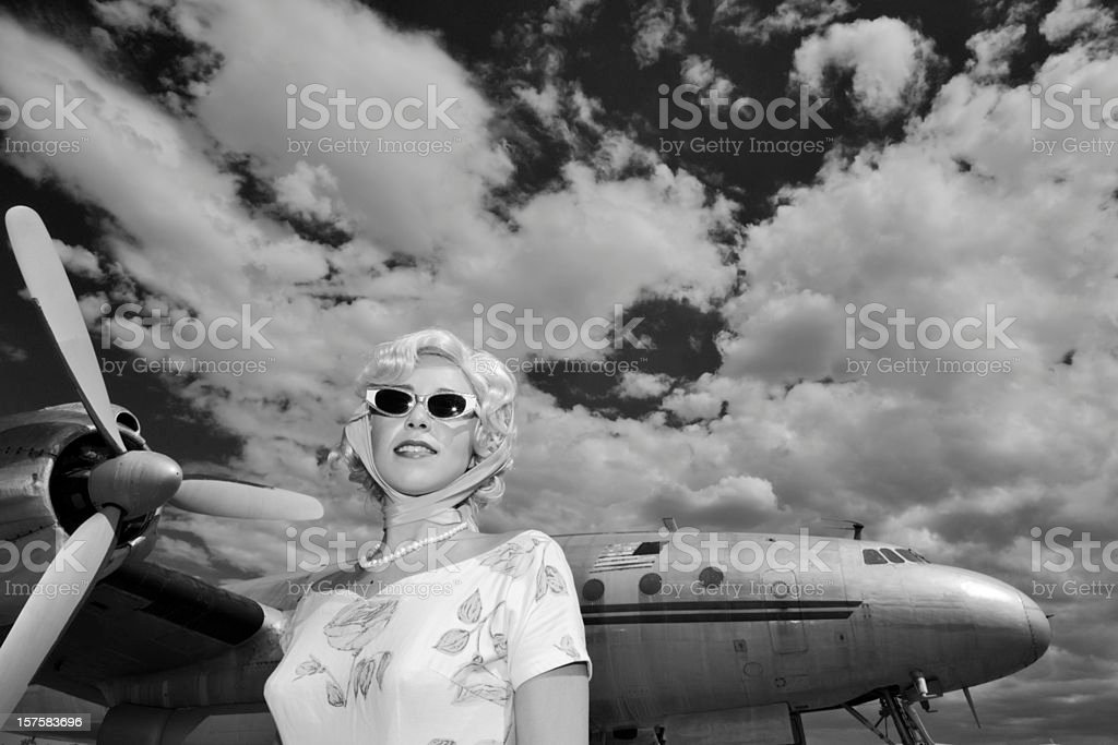 Classic Girl at Airport royalty-free stock photo