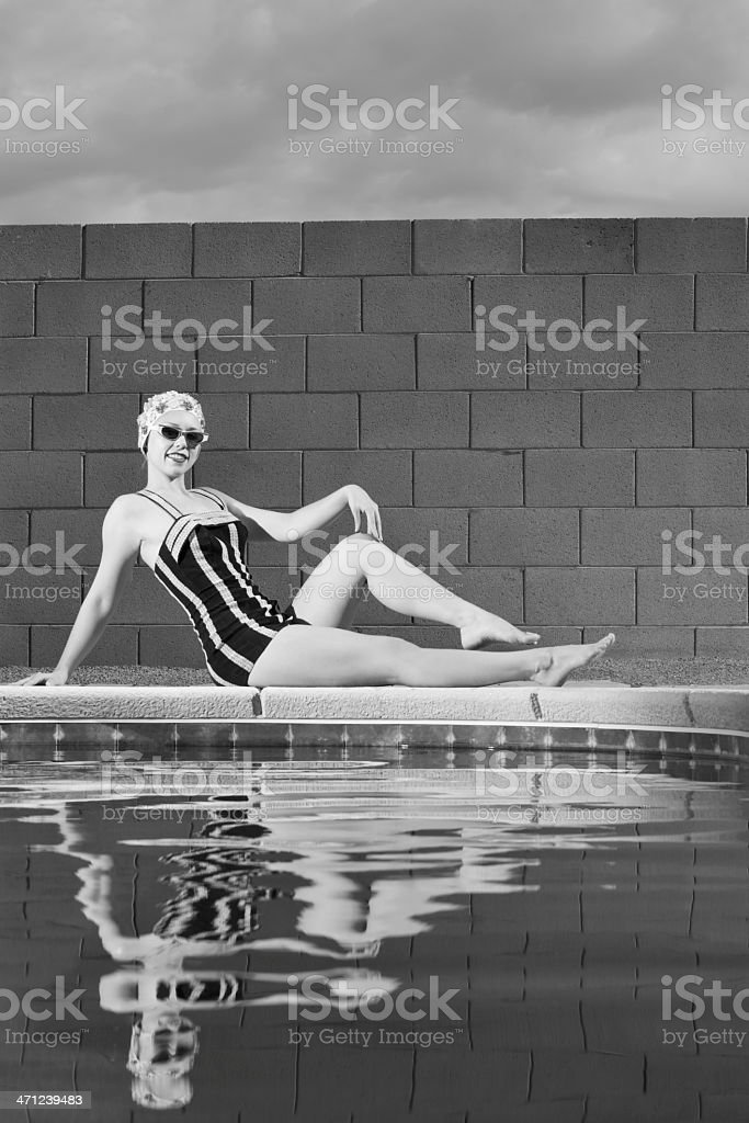 Classic Girl Sits at Pool royalty-free stock photo