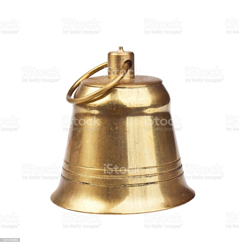 Classic gold bell on a white background stock photo