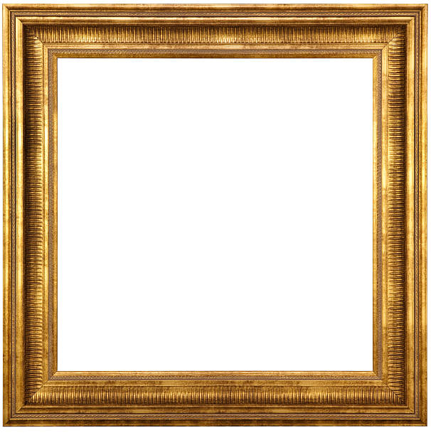 Classic Gold Picture Frame With Clipping Path stock photo