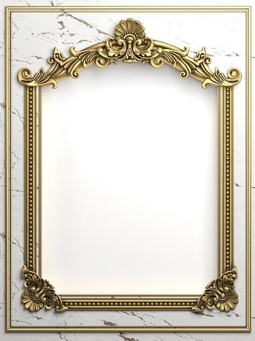 3d illustration. Classic gold frame in the Baroque style. Cover or postcard. Black marble. Background