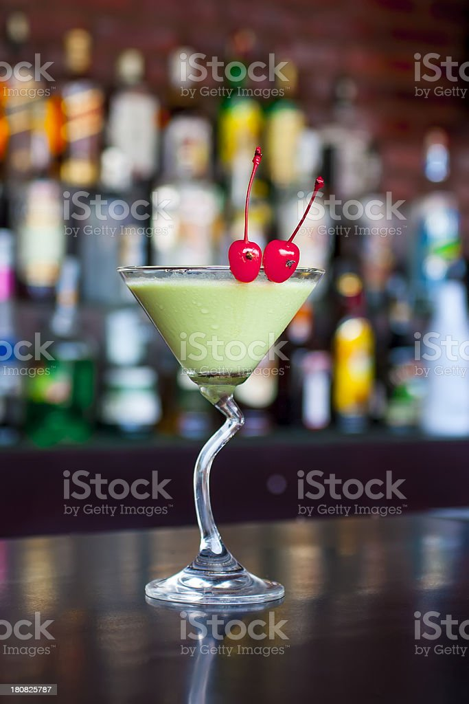 Classic grasshoper cocktail on the black bar table stock photo