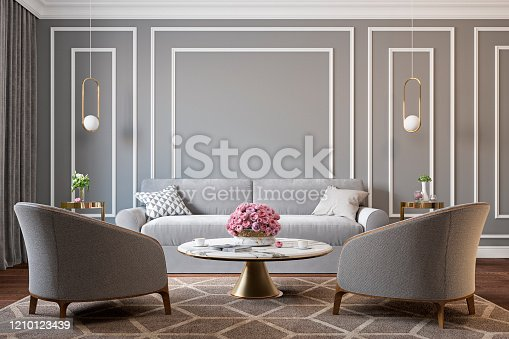 Classic gray interior with armchairs, sofa, coffee table, lamps, flowers and wall moldings. 3d render illustration mockup.