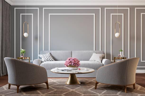 klassiek grijs interieur met fauteuils, bank, salontafel, lampen, bloemen en wandlijsten. 3d terug te geven illustratie mockup. - interior design stockfoto's en -beelden