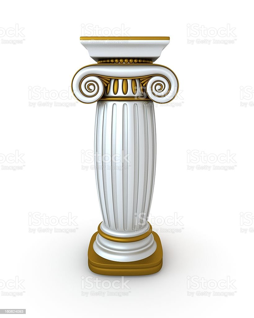 Classic Greek Column With Gold Edges royalty-free stock photo