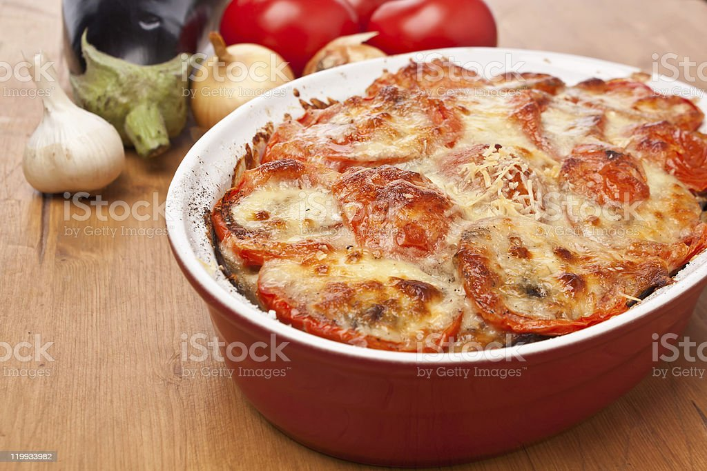 Classic Greek Moussaka with Eggplant stock photo