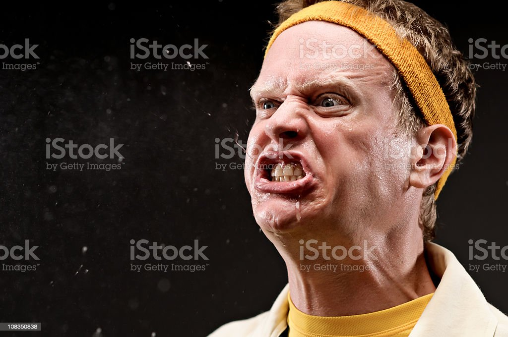 Classic gym coach with outraged expression stock photo