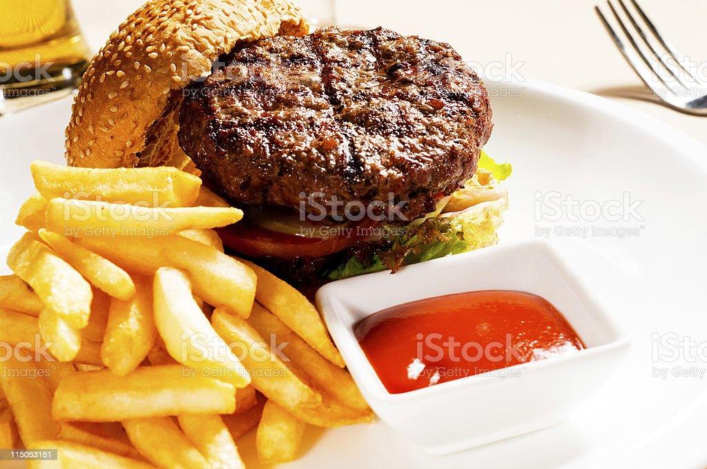 classic hamburger sandwich royalty-free stock photo