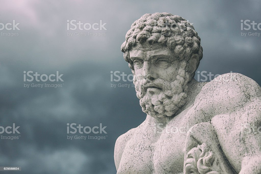 Classic Hercules statue stock photo