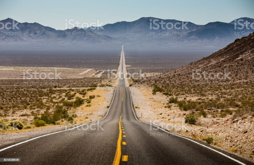 Classic highway scene in the American West stock photo