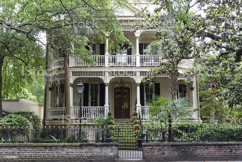 Classic Home in Historic Savannah, Georgia stock photo