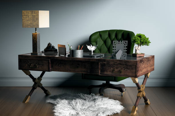 classic home office - ledersessel braun stock-fotos und bilder
