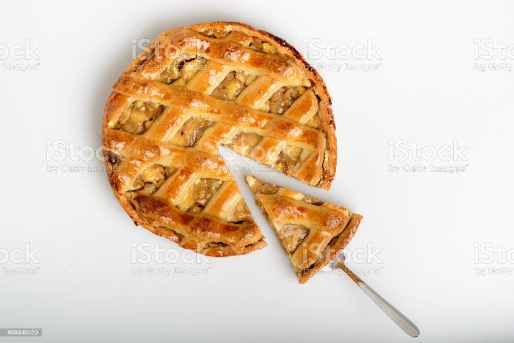 classic homemade apple pie, grandmother's recipe stock photo