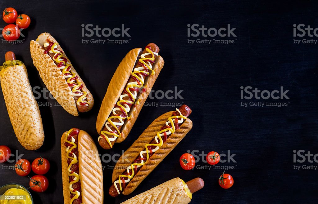 Classic hot dog stock photo