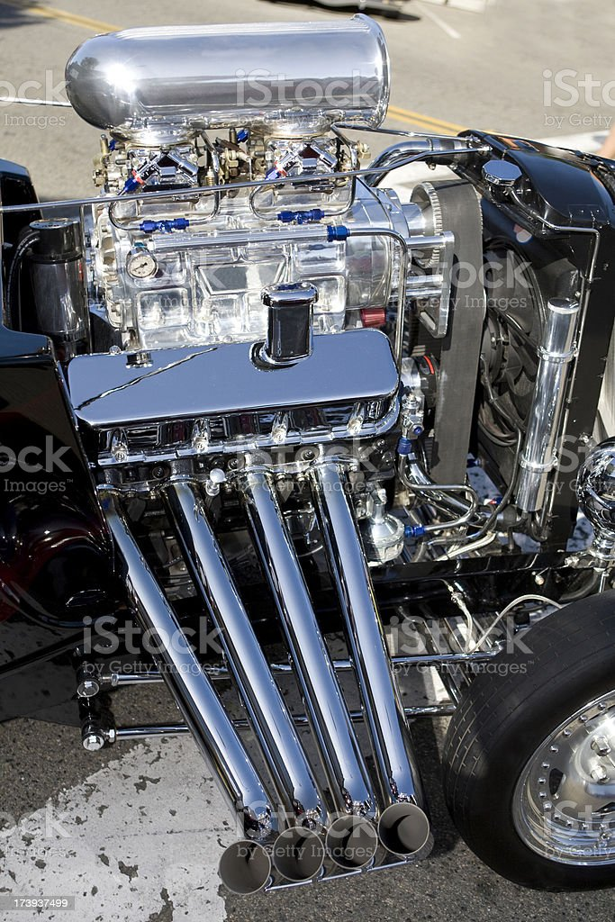 Classic Hot Rod with Blower and Headers royalty-free stock photo