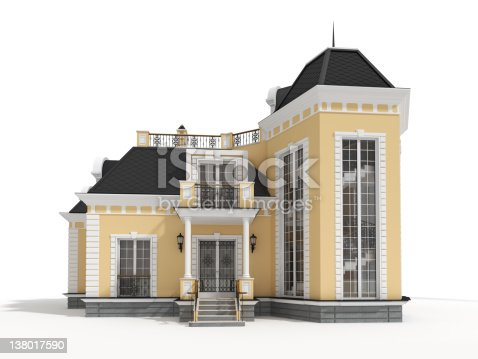 3D classic house model isolated on white