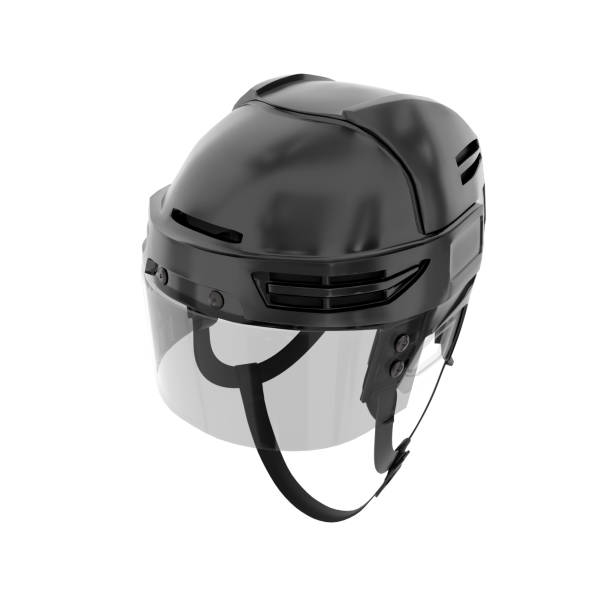 classic ice hockey helmet with glass visor - helmet visor stock photos and pictures