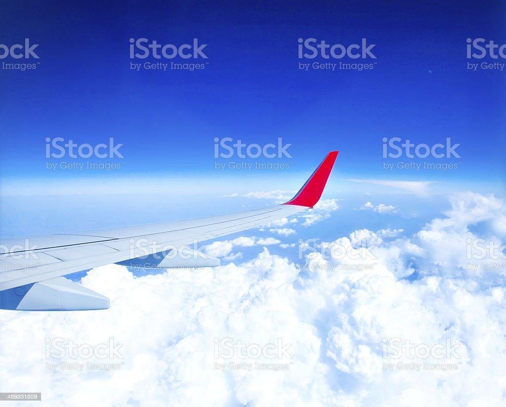 Classic image through aircraft window onto jet engine royalty-free stock photo