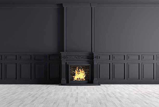 klassisches interieur der zimmer mit einem kamin 3d-abbildung - kamin weiß stock-fotos und bilder