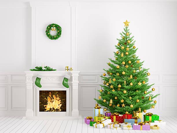klassische innenraum mit weihnachtsbaum und kamin 3d-abbildung - kamin weiß stock-fotos und bilder