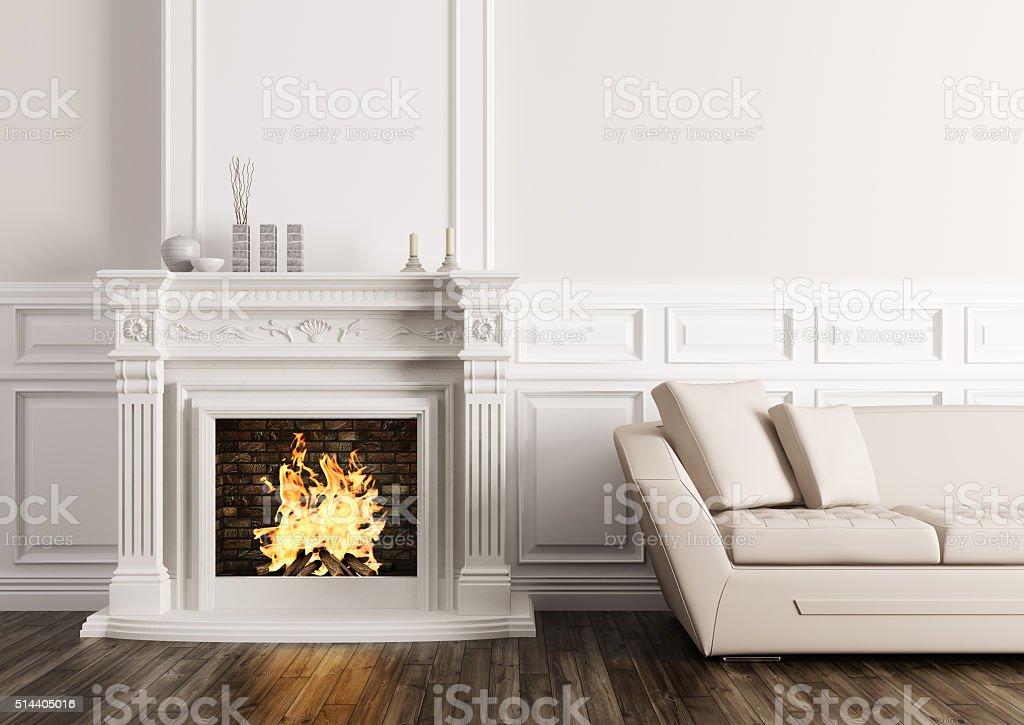 Klassisches Interieur Mit Kamin Und Sofa 3d Render Stockfoto und ...