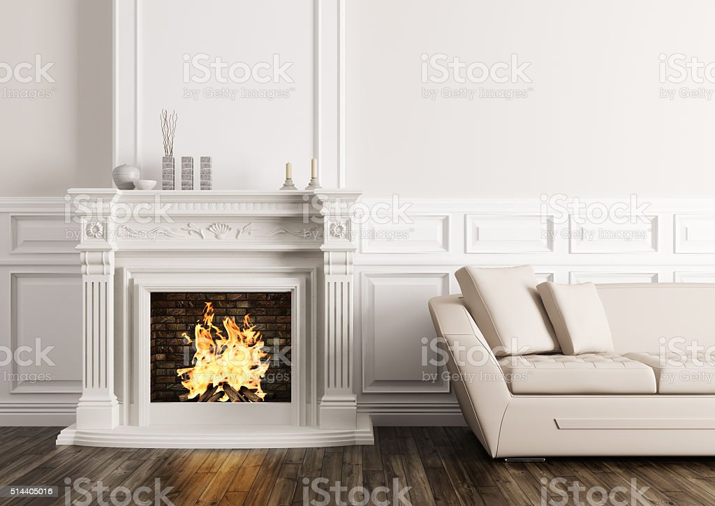 Classic interior with fireplace and sofa 3d render stock photo