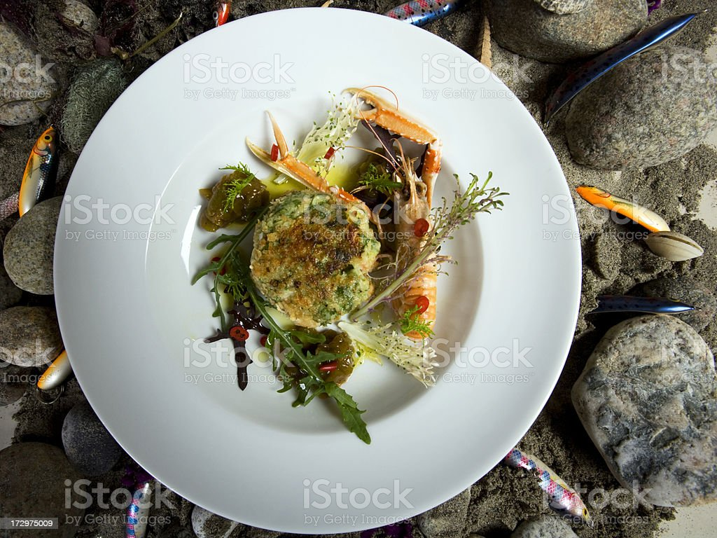 Classic Irish oatmeal fish cakes on beach royalty-free stock photo
