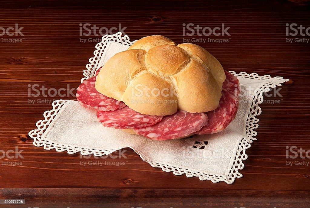 Classic Italian sandwich with salami stock photo
