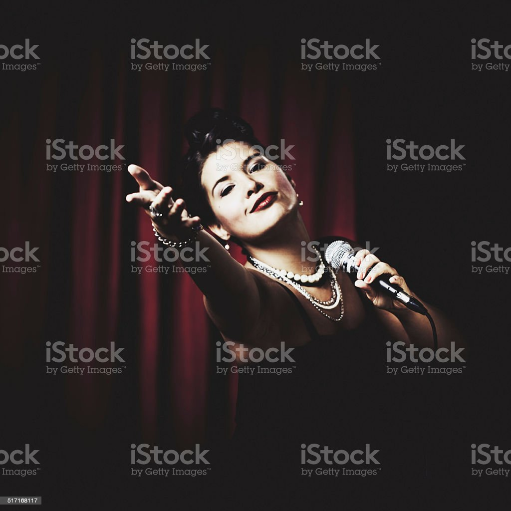 Classic Jazz Singer On Stage stock photo