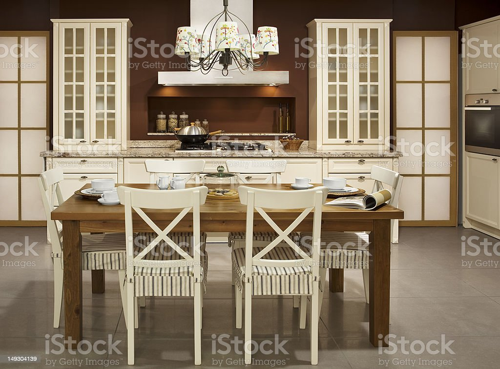 A classic kitchen and dining area stock photo