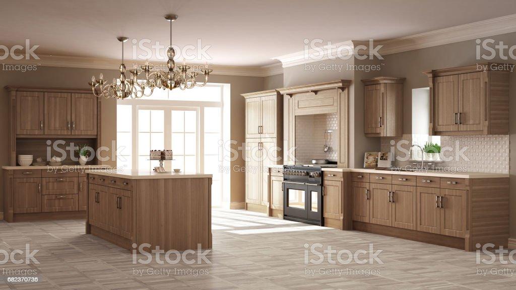 Klassieke keuken, elegant interieur met houten details royalty free stockfoto