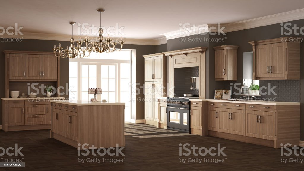 Classic kitchen, elegant interior design with wooden details foto stock royalty-free