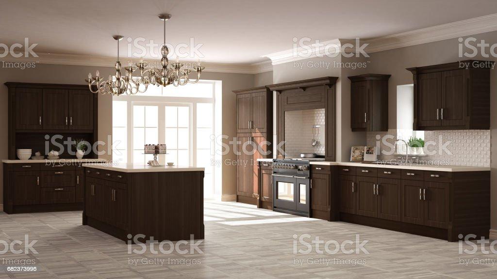 Klassiska kök, elegant inredning med trädetaljer royaltyfri bildbanksbilder